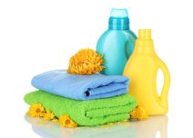 11911740 - towel and cleaning isolated on white